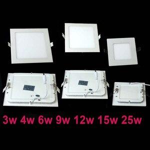 Image 3 - 20 pcs/lot Dimmable Ultra mince 3 W/4 W/6 W/9 W/12 W/15 W/25 W LED plafond encastré grille Downlight/mince panneau carré