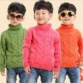 2017 de otoño e invierno suéteres para niños muchachas de los muchachos 100% algodón niños géneros de punto engrosamiento jersey de cuello alto niño multi-color