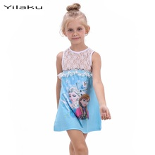 Cute Girl Elsa Anna Princess Lace Dresses Character Sleeveless Cotton  Elsa Dress Snow Queen Ball Gown for Little Girls WI30021 2017 summer style girls elsa anna princess dresses girl butterfly printed sleeveless formal girl dresses teenagers party dress