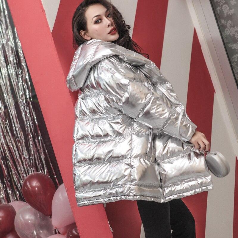 Argent femmes vestes Parkas à capuche Long coton rembourré veste chaud épais manteaux thermique porter