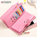 SENDEFN 100% Genuine Leather Women Wallet Long Lady Purse Clutch Card Holder Phone Pocket Purse Female Wallet