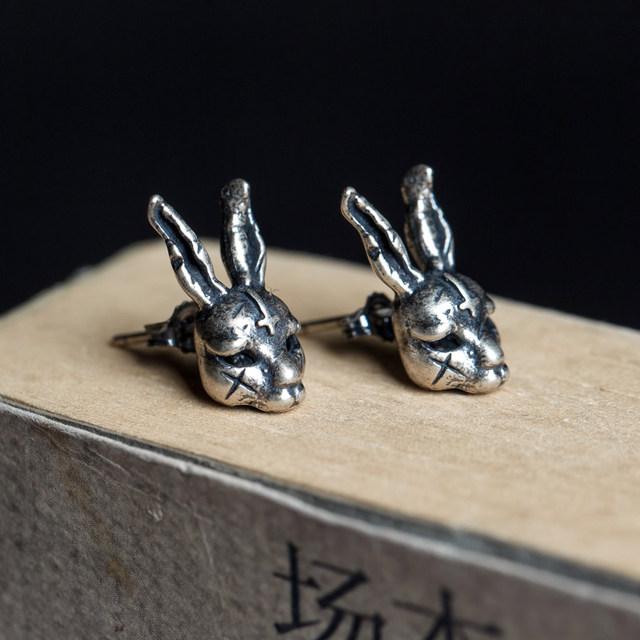 Dark Dream 925 Sterling Silver Rogue Rabbit Punk Hiphop Rock Stud Earrings Vintage Jewelry Wholesale Free Shipping