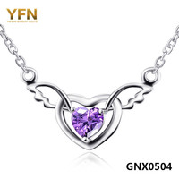 GNX0504 NEW 925 Sterling Silver Austrian Crystal Heart Infinity Necklace Joyas De Plata Angel Wing
