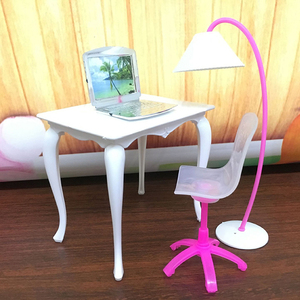 1Set Doll Furniture Desk+Lamp+Laptop+Chair Accessories For for Doll