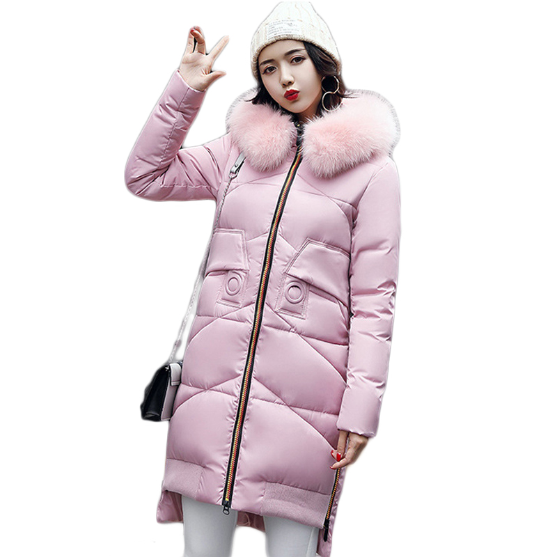 New Arrival 2017 Fashion Large Fur Collar Women Thickening Winter Coat Female Middle-long Loose Down Cotton Jacket Parkas CM1292
