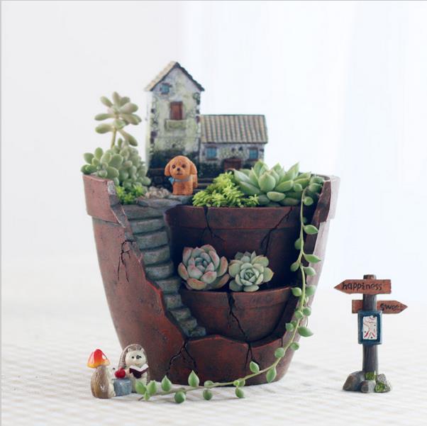 Creative Flower Pot Stand Planter Vertical Garden Pot Planter Succoulent  Plant Bonsai Animal Plant Pot Decorative Seeding Pot