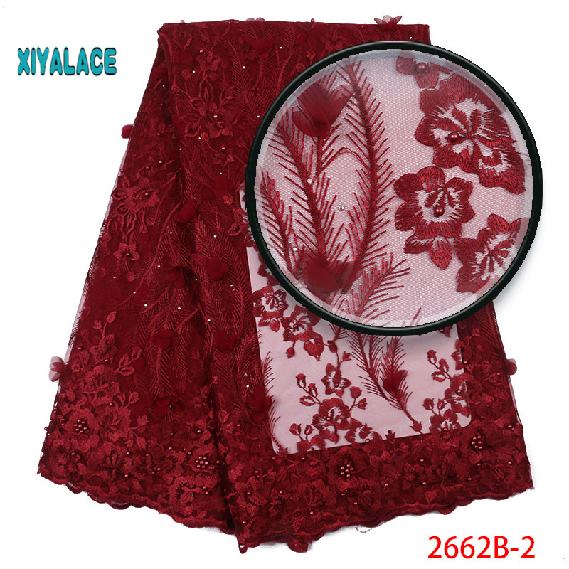 2019 New Style French Net Lace Fabric 3D Flower African Tulle Mesh Lace Fabric High Quality Lace Nigerian Lace Fabric YA2662B-2