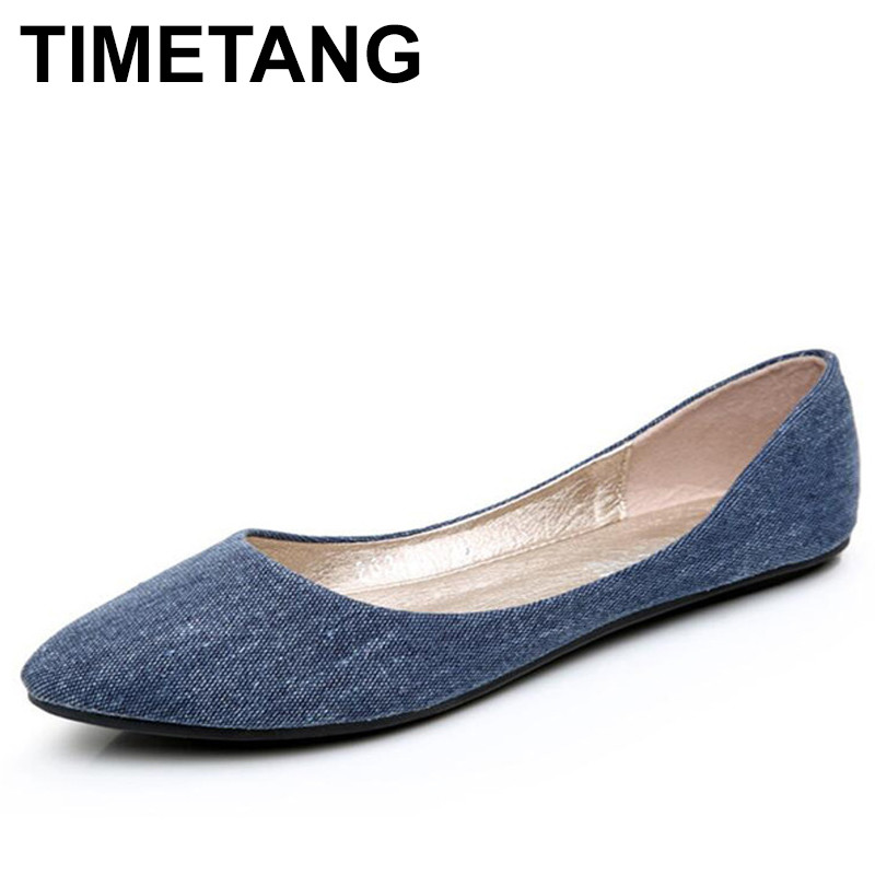 TIMETANG New Women Soft Denim Flats Blue Fashion High Quality Basic Pointy Toe Ballerina Ballet Flat Slip On Office Shoes 2018 new women flats fashion soft bottom diamond pointy toe ballerina ballet flat slip on women shoes b201