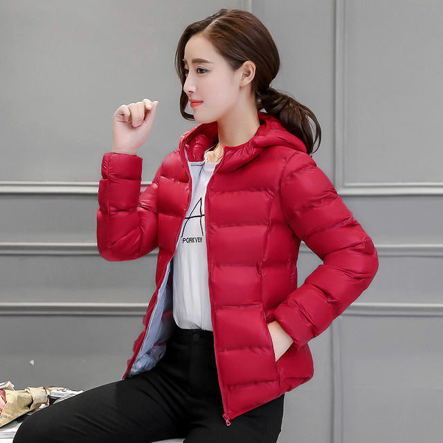 Осень Зима куртка женщин 2016 моды тонкий короткие хлопка-проложенный С Капюшоном куртки женщины ватные куртки верхняя одежда зимнее пальто женщин