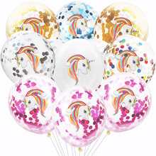 Unicorn Party Decorations Latex Balloons Sequins Confetti Balloon For Kids Birthday Decoration