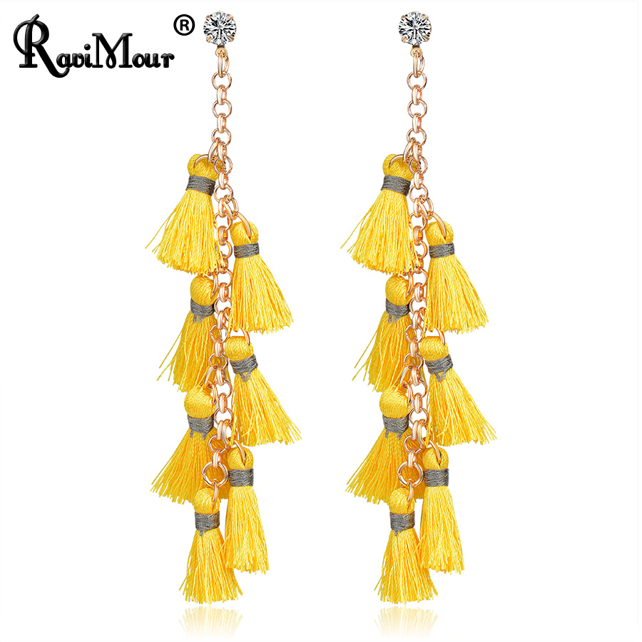RAVIMOUR Brincos Multilayer Statement Earrings for Women Ethnic Tassel Drop Earring Fashion Gold Color Long Earing Jewelry 2017