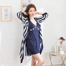 Daeyard Womens Robe For Sping Summer Silk And Nightgown Set Sexy Striped Bathrobe Satin Sleepwear Nightwear Home Clothes
