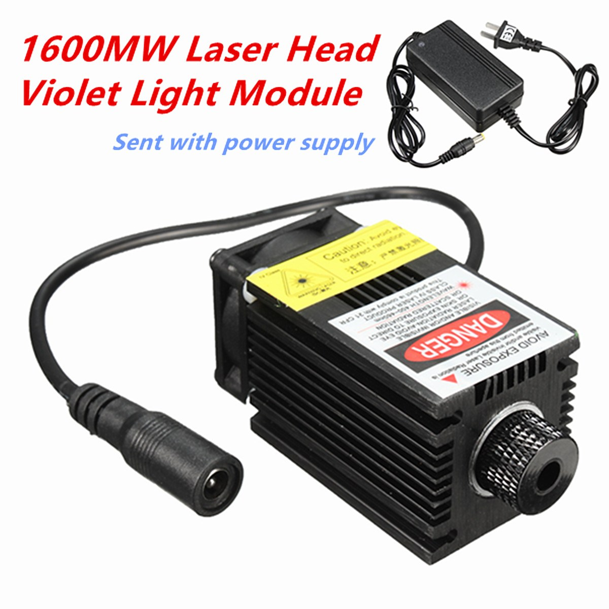 12V 1.6W 1600MW Laser Module Engraving Head For DIY USB CNC Cutting Printing Machine + Power Supply laser module industrial laser head red laser spot heat dissipation can work for a long time