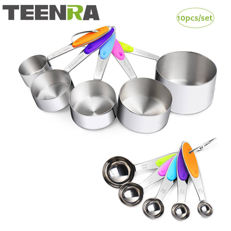 TEENRA 10pcst Measuring Spoon Sets Stainless Steel Baking Measuring Cups Adjustable Measuring Spoon Scoop Set Scale Cake Tool