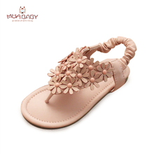 Muababy Children ladies Sandals Summer Kids princess woman Sandals Flowers trend Shoes Flat Sandals for Girls dimension 24-34 S71