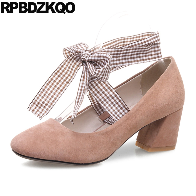 Ladies Suede Square Toe Strap Medium Pink Size 4 34 Block Heels Shoes For Women Pumps Korean Thick Evening High New Fashion 2017 women strange autumn brown abnormal evening pointed toe blue catwalk high heels pumps size 4 34 stiletto medium fashion new