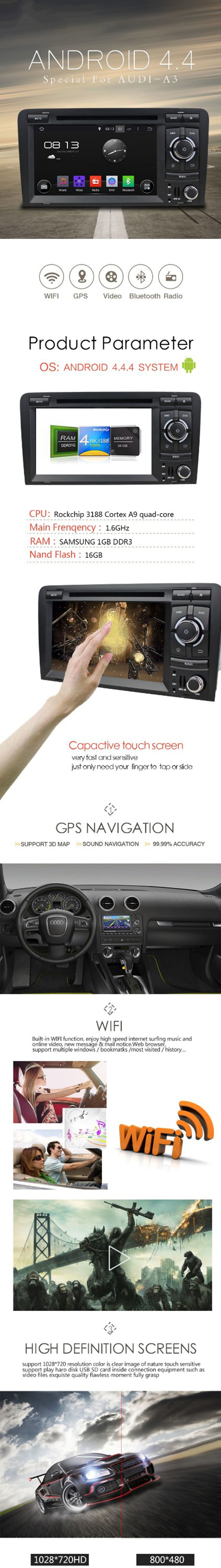 2 Din Touch Screen Car Radio for Audi A3 DVD Player with GPS