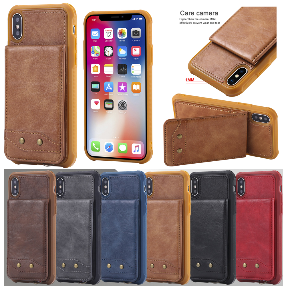 Leather Case For iPhone X 8 7 6 6S Plus Retro Card-Slot Holder Cases For Samsung S8 S9 Plus Vertical Flip Phone Cover Shells