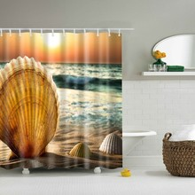 Surf Waves Caribbean Sea And Water Splash Picture For Surfers Print Polyester Fabric Bathroom Hooks Shower