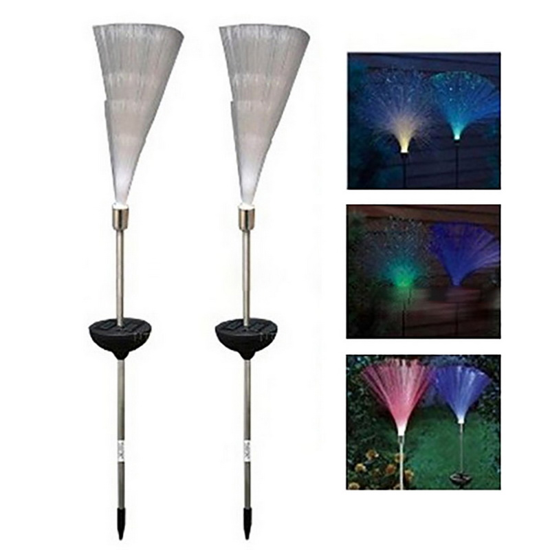 100% Quality 1 Pc Solar Light Optical Fiber Solar Garden Light Novelty Color Changing Led Outdoor Path Garden Lawn Yard Night Decorative Lamp For Sale