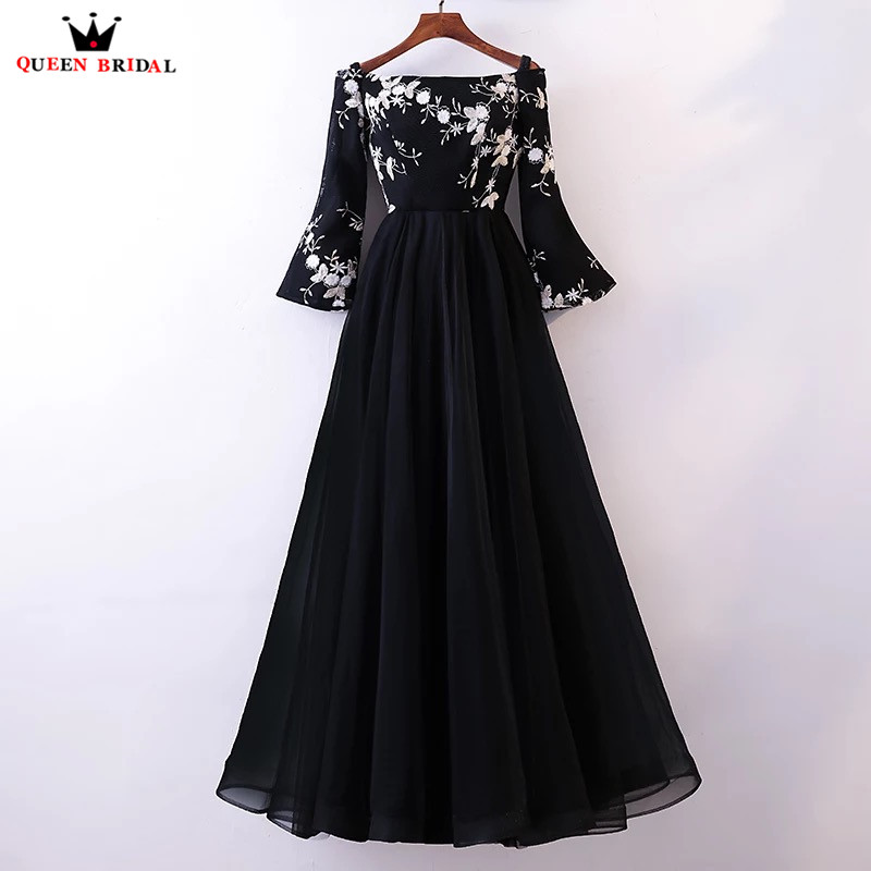 A-line Long Sleeve Tulle Lace Black Formal Elegant Evening Dresses ...