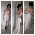 Elegant Lace Bridesmaid Dress Vestidos De Novia Floor Length Sheer Back Prom Gown Split Front Fashion Maid Of Honour Dress