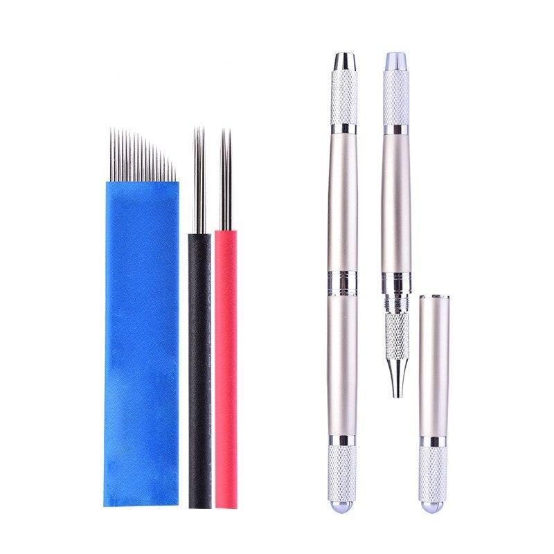 Professionell Tebori Microblading penna för permanent sminkmaskin Silver Manuell ögonbryn penna 3 i 1