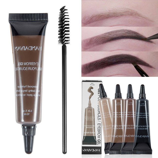 Eyebrow Cream Gel with Brush Waterproof Eyebrow Enhancer Makeup Microblading Eyebrow Tattoo Pen Tint Long Lasting Eye Brow