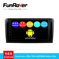 Funrover 2 din android 9.0 car radio dvd multimedia for Mercedes Benz ML ML350 W164 GL X164 ML320 ML280 GL350 GL450 gps navi DSP