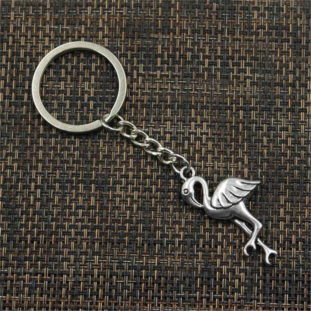 ใหม่แฟชั่นพวงกุญแจ 41x19 มม.ขาตั้ง Crane Flamingo จี้ DIY ผู้ชายเครื่องประดับ Key CHAIN ผู้ถือแหวนของที่ระลึกสำหรับของขวัญ