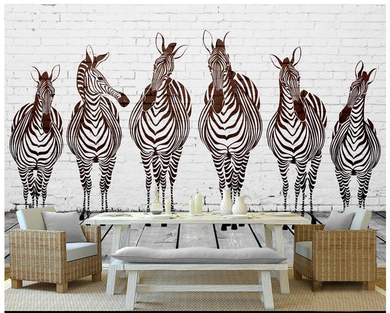 3d wallpaper custom 3d murals wallpaper mural animals wall for Black and white wall mural wallpaper