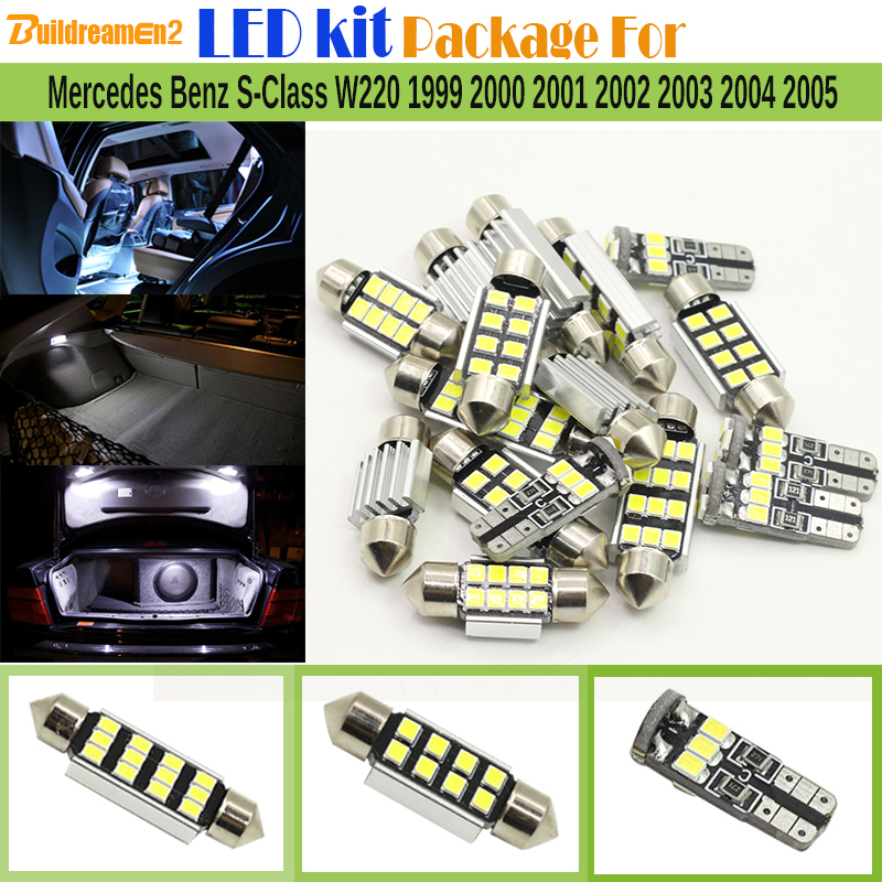 Buildreamen2 Car 2835 No Error LED Bulb LED Kit Package White Dome License Plate Light For Mercedes Benz S-Class W220 1999-2005 27pcs led interior dome lamp full kit parking city bulb for mercedes benz cls w219 c219 cls280 cls300 cls350 cls550 cls55amg