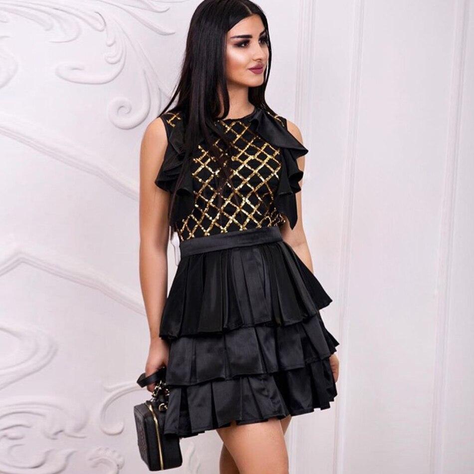 Nouveaux De Club Sexy Manches Sans Femmes Celebrity Black Plissée Tenue Piste Soirée Ruches Adyce Fête Robes Noir Réservoir Robe 2019 F0qWw5