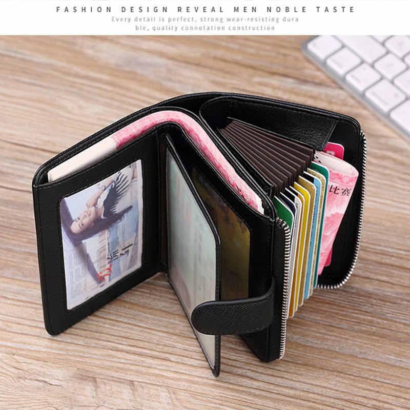 2019 новый мужской модный кошелек из натуральной кожи, визитница для кредитных карт, многофункциональный кошелек на молнии, кошелек для фото