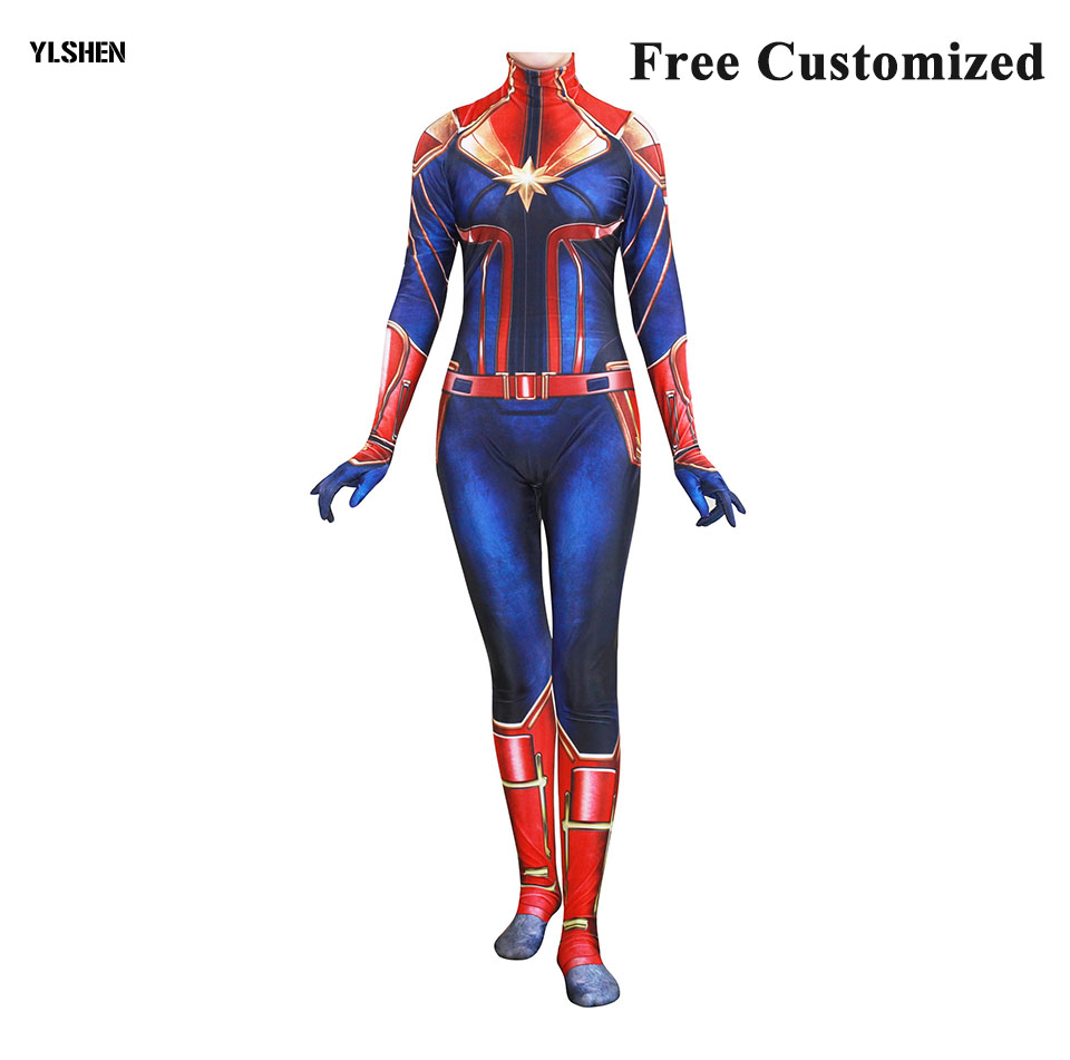 Captain Marvel Cosplay Costume Carol Danvers 2019 Superhero Halloween Costumes Ms. Jumpsuit