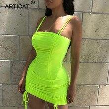 Article Spaghetti sangle Sexy dos nu femmes robe dété 2020 bretelles moulante pansement robes de fête Vestidos Club Mini robe
