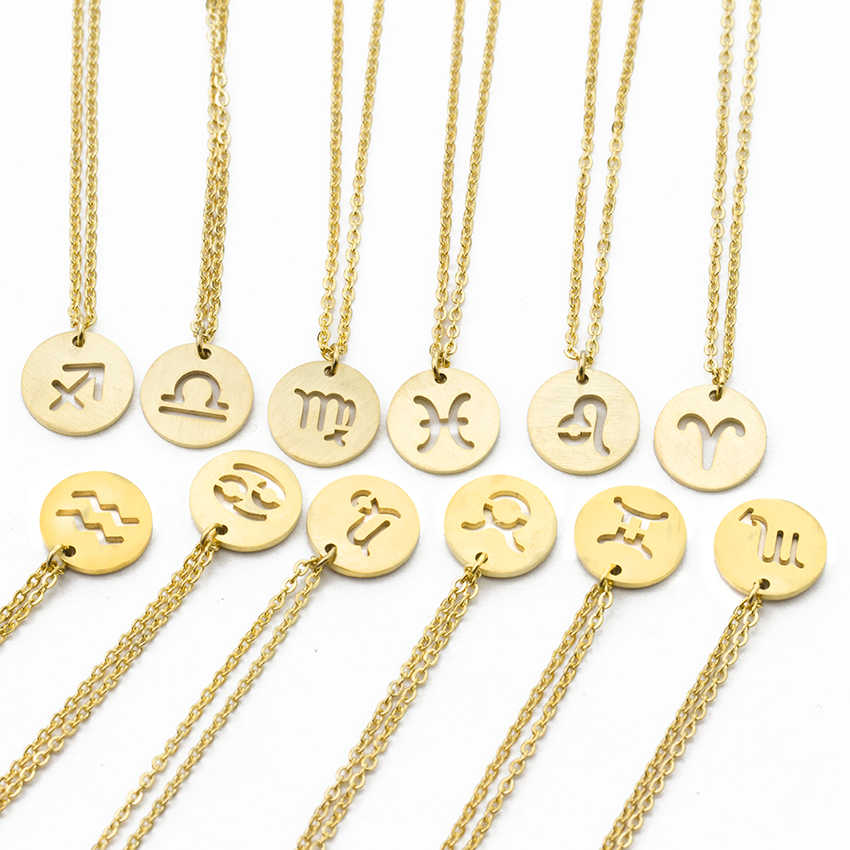 1d3dfa5cb Astrology Constellation Choker Necklace 12 Stars Zodiac Signs Round Pendant  Necklace Women Stainless Steel Jewelry Birthday