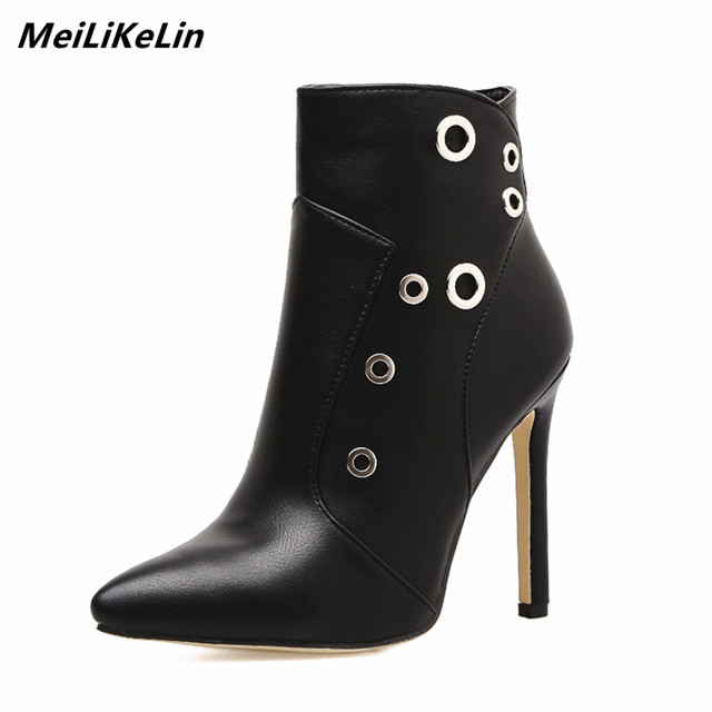 70193c49ff13 MeiLiKeLin Fashion Motorcycle Boots Women Autumn winter boots high heel  Leather Booties Metal Ring Pointed Toe