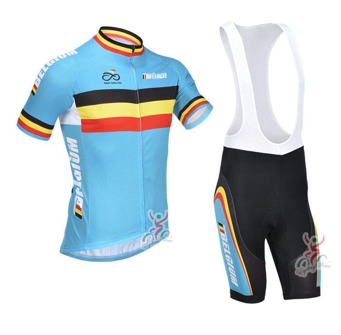 8ba5fa1024 Bélgica ciclismo kits dos homens terno de verão Azul mtb bicicleta jersey  conjunto camisa bicicleta + bib shorts pro cycling team roupas