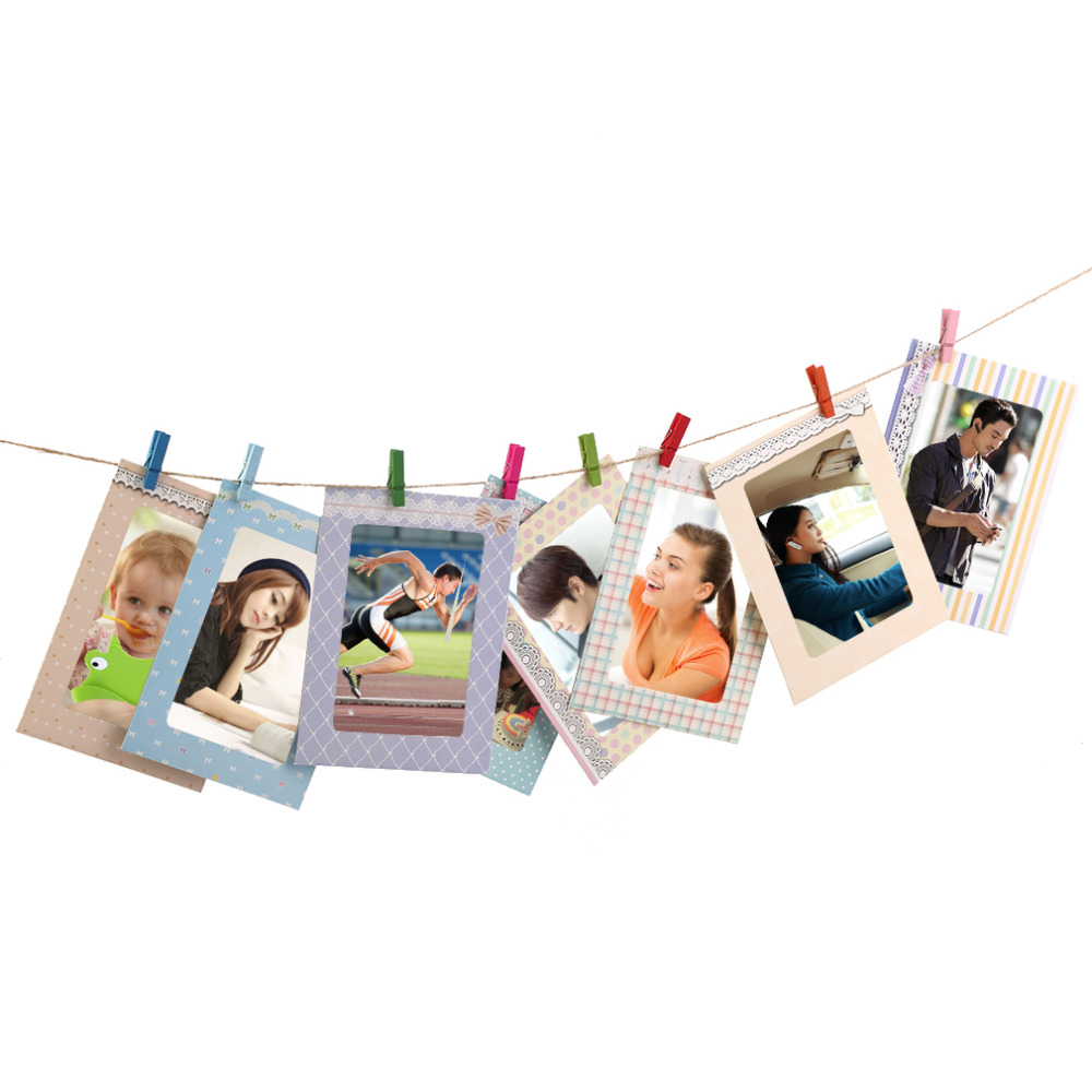 2017 Creative Home 8pcs 6 Inch Rectangle Paper Photo Frame With Wood Clips  Wall Picture Album