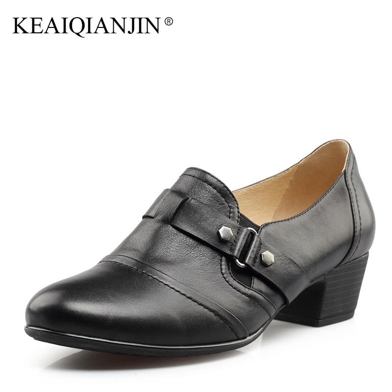 Keaiqianjin женская обувь из натуральной кожи Насосы чёрный  коричневый 5  см обувь с пряжкой на высоком каблуке Демисезонный Рет.. 1f65fd032e394