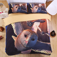 EsyDream 3D Oil Painting Flying Owl Bedding Sets King Size (No Comfroter), Twin Size Kids Duvet Cover Owl Print Bird Bed Sheet