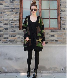 2015 New Fashion Women Print V NECK Shirt Long Sleeve Camouflage ...