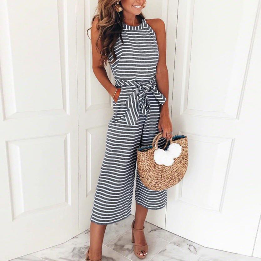 2018 summer womens jumpsuit romper Sleeveless Striped Jumpsuit Casual Clubwear Wide Leg Pants  Romper womens jumpsuit C30814