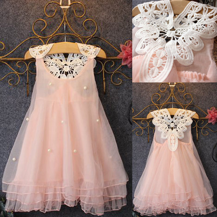 Xmas Chiffon Toddler Baby Girls Party Sleeveless Dress Pearl Lace
