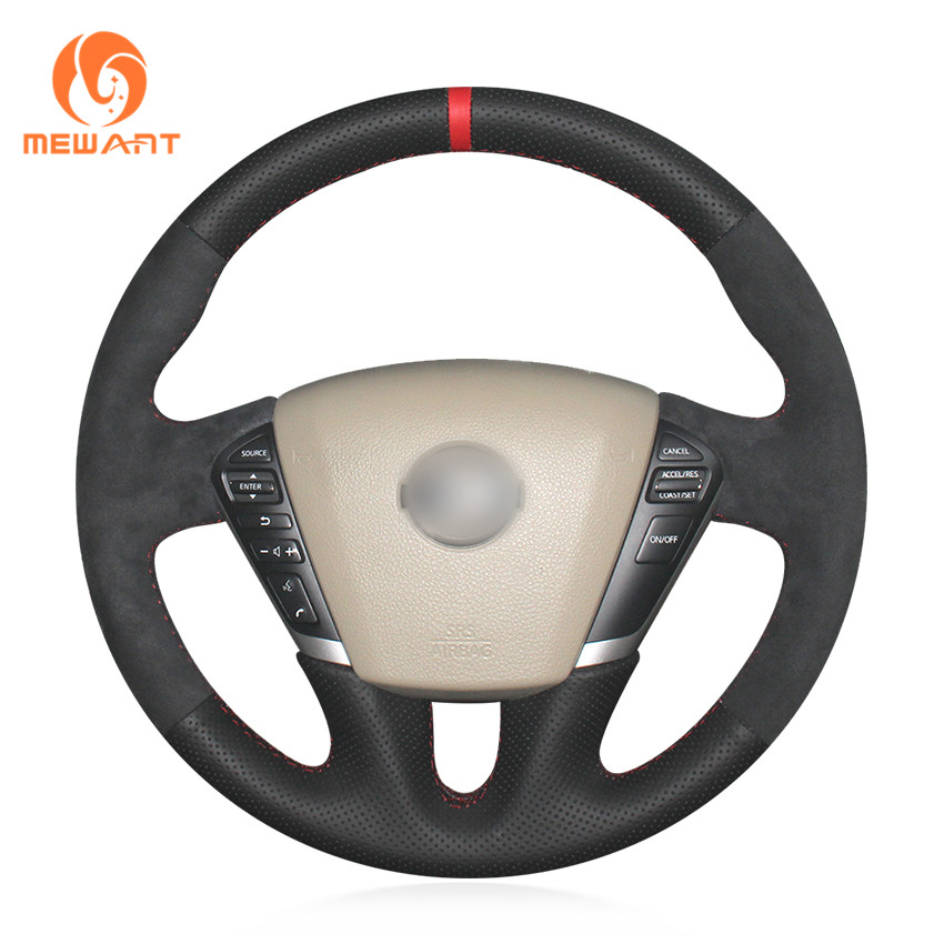 MEWANT Black Genuine Leather Black Suede Car Steering Wheel Cover for Nissan Teana 2008-2012 Murano 2009-2014 Quest 2011-2017 mewant wine red leather black suede car steering wheel cover for chevrolet cruze 2009 2014 aveo 2011 2014 orlando 2010 2015