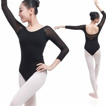 С длинным рукавом для взрослых балетки баскетбольный балет трико F Для женщин гимнастическое трико для танцев балетный комбинезон-боди балетки Танцы костюм