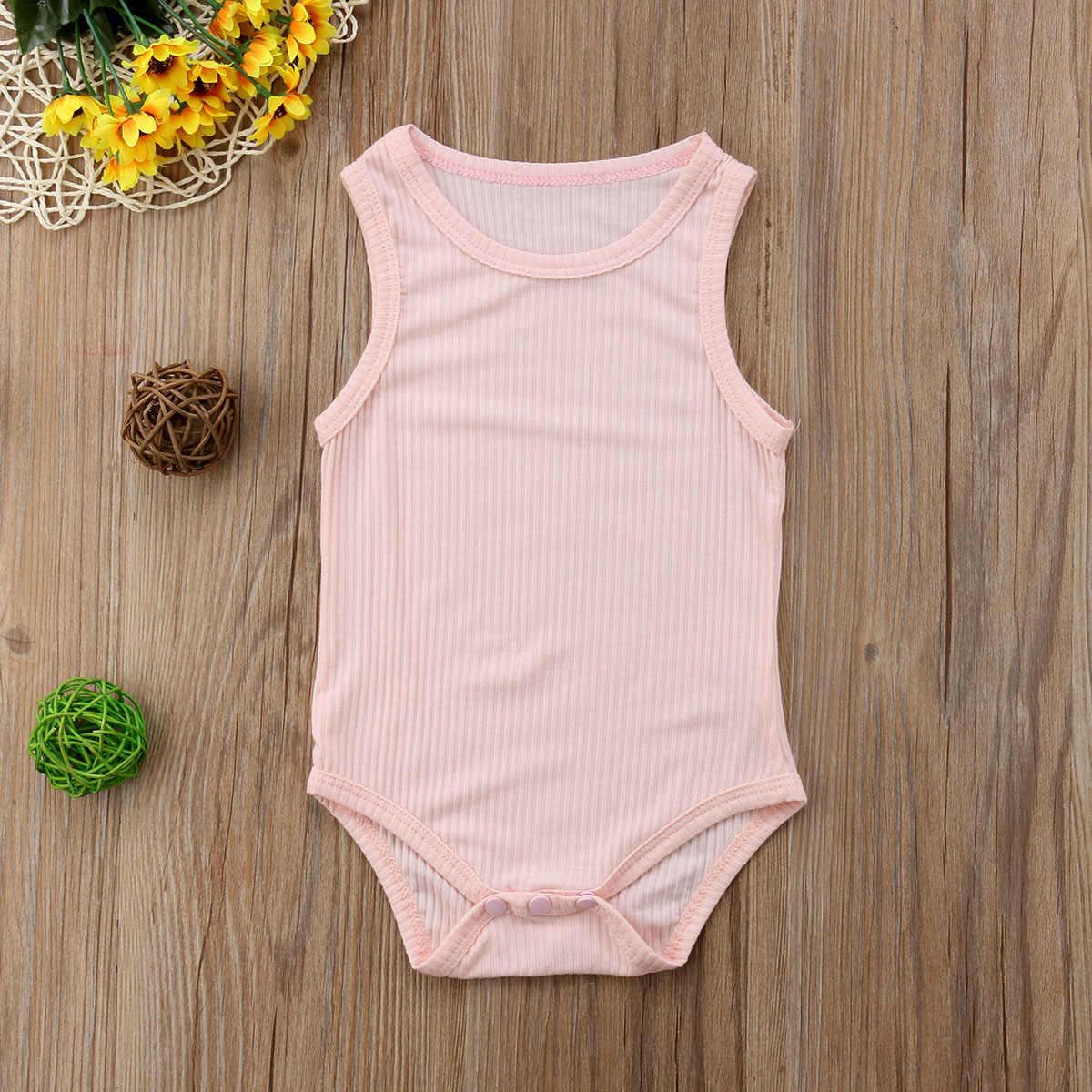 2018 Brand New Sơ Sinh Toddler Infant Bé Gái Bé Trai Cotton Không Tay Bodysuit Sườn Jumpsuit Solid Bán Buôn Outfits Quần Áo