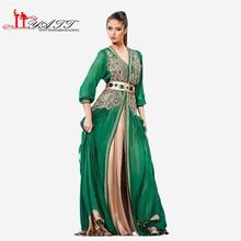 Moroccan Caftan Kaftans Evening Dress Long Sleeve Green Arabic Abaya Islamic Clothing for Women Kheleeji Jalabiy Arabian No belt