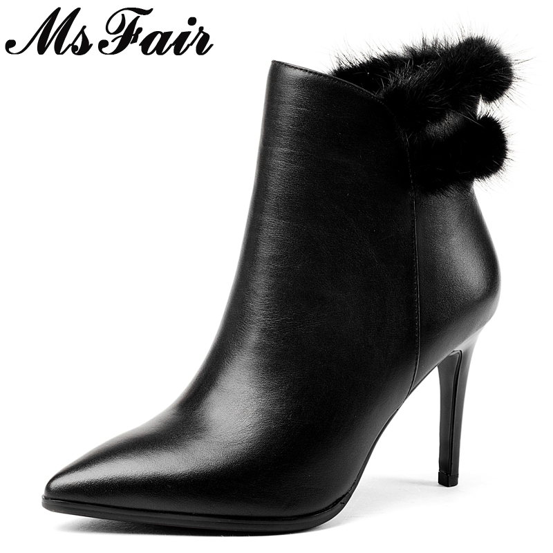 MsFair Pointed Toe Thin Heels Women Boots Ladies Super High Heel Ankle Boot Winter Zipper Fur Short Plush Women's Boots Shoes women buckle ankle boots winter fur warm high heels boots for women fashion pointed toe chunky heel boot pu leather shoes
